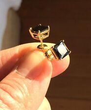 Mens Ladies 14K Gold Filled Black Lab Diamond Screw Back Stud Earring 6mm