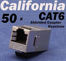 50 X pcs Lot CAT6 Shielded Inline RJ45 Keystone Wall Coupler Jack Adapter 8P8C E
