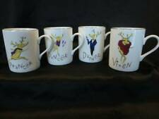 Pottery Barn Set of 4 Reindeer Mugs Dasher Dancer Prancer Vixen Christmas New