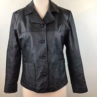 Bagatelle Women's Genuine Leather Jacket Black Button Down Lined Rn 88842 SZ M