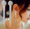 Dangle Drop Clip on Earrings Crystal Women Ladies Clip-on Silver Tassle Bridal