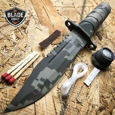 "8.5"" Military Camo Tactical Fishing Hunting Knife Survival Kit Blade w/ Sheath"
