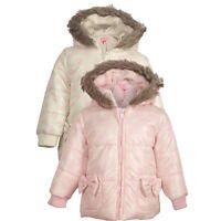 Baby Girls Minoti Pink Hooded Fur Winter Coat Puffa Jacket Age 6 12 18 24 Months