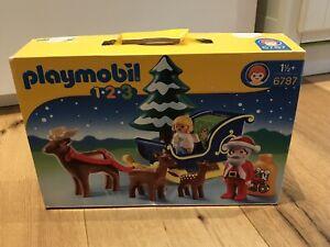 6787 Playmobil 1 2 3, Rentierschlitten, Weihnachtsmann, Tanne
