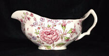 Johnson Brothers Rose Chintz China Gravy Boat Pink White