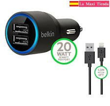 Cargador Belkin Doble Usb Mechero Coche Cable iPhone 5 5C 5S 6 7 Plus IOS 8 9 10