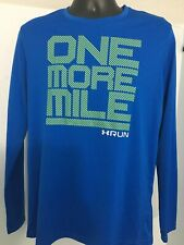 Under Armour Run Blue Base Layer Running Shirt Ls Fitted Large L Heat Gear