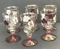 "Glass Wine Water Goblet Colorful Crystal- set of 6- (Approx) dimensions 4"" x 2"""