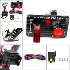 Aluminum 12V Ignition Switch Panel Engine Start Push Button Toggle For Racing