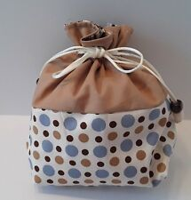 Free Shipping -Hand Made Drawstring Bag -Brown and Blue Dots(M) (260))