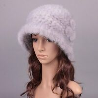 Women Winter Mink Knitted Fur Hat Lady Fur Bucket Cap Gift for Girl with Flower