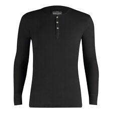 LEVI'S NEW Mens Black Levi's Long Sleeved Henley T-Shirt - Black BNWT