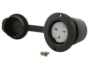 20A 250V T-Blade NEMA 6-20R Flanged Power Outlet With Covers by AC WORKS®