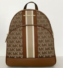New Michael Kors Abbey MK Signature Jacquard Medium Backpack Beige with Stripes