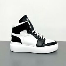 Sneakers Alte ML in Vera Pelle Bianca e Inserti Nero Scarpe Made in Italy Uomo