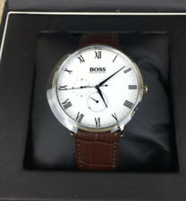 Hugo Boss William Multifunction White Dial Brown Leather Mens Watch 1513617