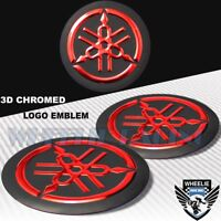 "2"" EMBLEM DECAL LOGO FAIRING/FENDER BADGE STICKER YAMAHA GLOSSY BLACK+CHROME RED"
