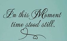 IN THIS MOMENT TIME STOOD STILL Wall Art Decal Quote Words Lettering Decor