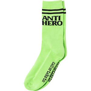 Antihero Skateboards Blackhero If Found Crew Socks - Lime Green - FREE SHIPPING!
