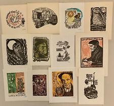 10 Eule OWL Mid Century Bookplates Exlibris Lot Spain Saez Divi Cinybulk (CZ)