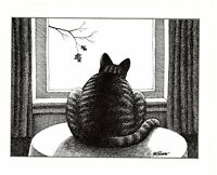 Cat looking Out Window at Leaves Tree Fall Kliban Cat Print Black White Vintage