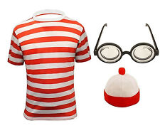 CHILDREN RED WHITE T-SHIRT GLASSES JUMPER HAT WHERE'S MY BOOK WEEK COSTUME