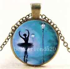 Vintage Ballet Dancer Photo Cabochon Glass Bronze Chain Pendant  Necklace