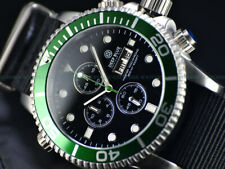 NEW DEEP BLUE 44MM MASTER 1000 QUARTZ CHRONOGRAPH GREEN BLACK SAPPHIRE SS DIVER