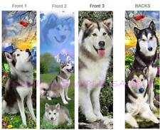 3 Lot-ALASKAN MALAMUTE BOOKMARKS Sled Dog Siberian Husky ART Book Mark Figurine