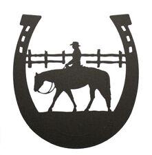 Western pleasure rider horseshoe black metal wall art decor