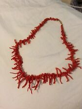 """Vintage Natural Red Coral Branch Necklace With 14kt Yellow Gold Clasp 18"""""""