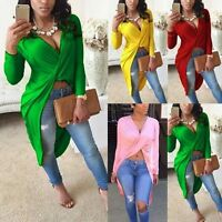 Sexy Women Pullover Tops Long Sleeve Irregular Blouse Party Bodycon Casual Shirt