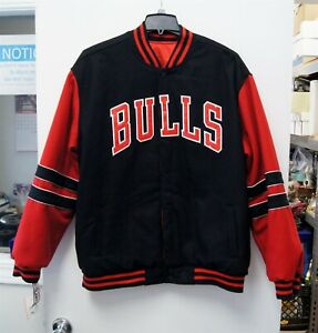NEW w/ Tag JH Design Chicago Bulls Reversible Full Button Jacket Black Red C3067