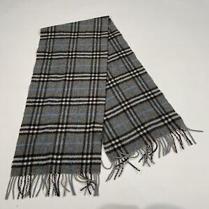 Vintage Burberry London 100% Cashmere Gray Black White Plaid Scarf