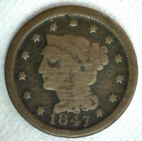 1847 Braided Hair US Large Cent Coin 1c US Coin Good Circulated Penny