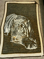 """Biederlack TIGER Soft Acrylic Blanket Throw 77"""" X 52"""" GREAT CONDITION Reversible"""