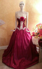 Ruby Middle Eastern Indian Victorian Style Taffeta Bridal Wedding Ball Gown