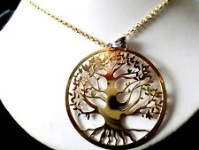 Tree of Life set, solid 925 sterling silver, yellow gold tint