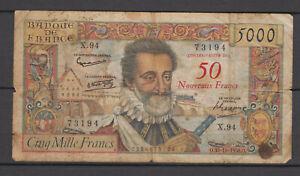 Billet 50 nouveaux Francs sur 5000 Francs Henri IV type 1957