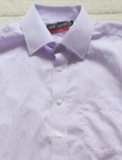 "M&S Tailoring Easycare Purple Stripe Shirt, 15.5""(40cm) Collar, Double Cuff, VGC"