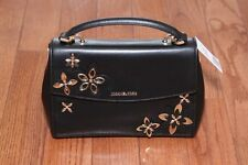 NWT Michael Kors $328 Ava Flowers Small Leather Satchel Handbag Purse Black