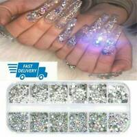 12Box/Set AB Crystal Rhinestone Diamond Gems 3D Glitter Nail Art Decoration -UK