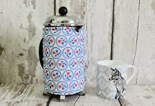 Upcycled Vintage Coffee Cosy, Floral Fabric, Retro Gift, Blue Kitchen, Cafetiere