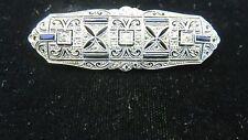 ART DECO~Vintage Platinum Diamonds & Blue Sapphires Lady's Brooch/Pin~Estate~WOW