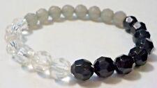 Vintage Black, Gray & Clear Plastic Beads Stretch Bracelet