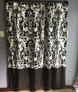 Shower Curtain Nicole Miller New York Brown Floral Brocade with Hooks!
