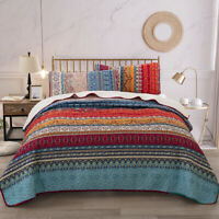 3 Pieces Queen Size Quilt Set Blanket Bedspread 2 Matching Pillow cases Coverlet