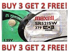 379 MAXELL WATCH BATTERIES SR521SW SR521 V379 NEW  BUY 3 GET 2 FREE!!