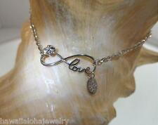 "Hawaiian Rhodium 925 Silver Plumeria Infinity Love Joy DC Chain Anklet 9""-11"""