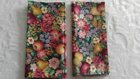 Cloth Napkins Handmade Floral & Fruit Pears Apples Green Floral Print Cotton New
